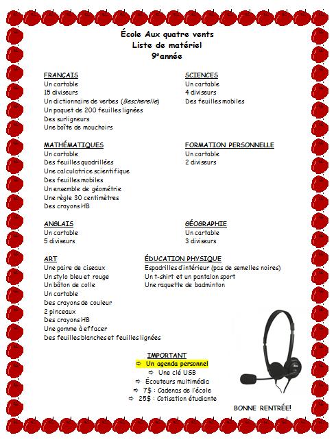 liste de matériel